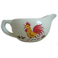 FIERCE COCK 1950s Farm Cockerel Gravy Jug Boat Adams Pottery Vintage Kitchen