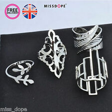 NEW 4 Piece Geometric Silver Finger Ring Set Leaf Womens Hollow Ladies Midi UK