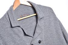 KU969 Ben Sherman Suéter Cardigan Algodón Premium Original Talla L