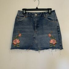 Topshop Embroidered Rose Denim Skirt