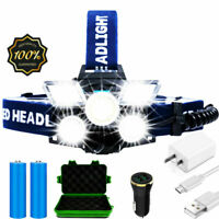 LED Headlamp Rechargeable 30000LM Ultra Bright Head Lamp USB 9 Modes Work Light