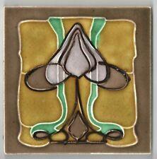 Reclaimed original period antique tile Art Nouveau Majolica 5 color flower