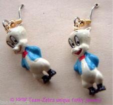 Funky PORKY PIG EARRINGS-Looney Tunes Bugs Bunny Toy Mini Figure Costume Jewelry