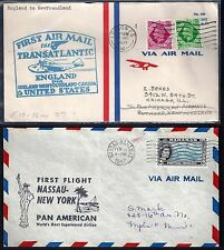 Uk Gb Nigeria Fiji Bahamas 1939 41 Four First Flight Covers Different Flights