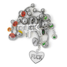 """10 Pack Navel Belly Ring 14 Gauge 3/8"""" Naughty Sexy Lick Me Pot 69 Dangle Logos"""