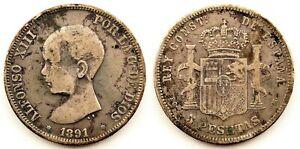 "Falsa de epoca. Alfonso XIII. ""Duro Sevillano"". 5 pesetas 1891. Plata 24,1 g"