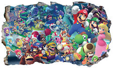 Super Mario Characters Wall Crack Adhesive Sticker Decal Print Poster Graphic