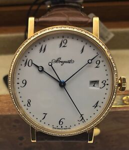 Breguet 18k Y Gold Classique Automatic Watch Diamond Date Arabic Numerals New