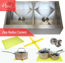 "Ariel 36"" Stainless Steel Double Bowl 16G Flat Apron Kitchen Farm Sink Combo"