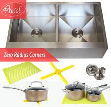 "Ariel 36"" Stainless Steel Double Bowl 16G Flat Apron Kitchen Farm Sink Combo"