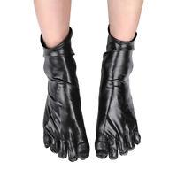 Unisex Shiny Wetlook Patent Leather Short Toe Socks Catsuit Costumes Accessories