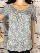 LOFT Scoop Neck T-Shirt Small Short Knot Sleeve Shirt Casual Gray Floral
