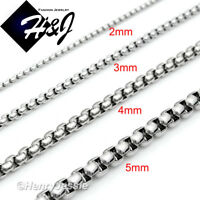 "16-40""MEN Stainless Steel 2mm/3mm/4mm/5mm/7mm Silver Smooth Box Chain Necklace"