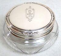 CIRCA 1920'S GORHAM STERLING SILVER & CUT CRYSTAL POWDER JAR