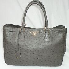 Prada Ostrich Struzzo Executive Tote Bag in Dark Gray