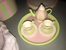 11 PC Ceramic Childrens Tea Set=5 PC Round Box+2 Saucers/2 Cups+Teapot/Lid+Tray
