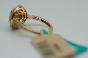 4Ct Oval Cut Opal white Pink Sapphire & Diamond Halo Ring 14k Rose Gold Finish