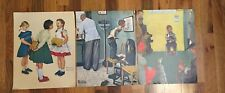 3 NORMAN ROCKWELL LITHOGRAPHS Prints 11x14 1972 Doctor Runaway Lost Tooth