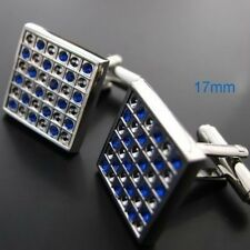 Boutons de manchette Bijoux Chemise CARRE GRIS Chromé Couleur Bleu Forme 641