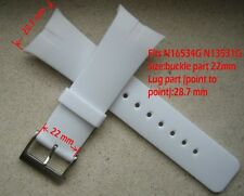 One White Resin Band Fit Nautica Watch NSR01 Date Flag Sporty N13524G etc 28.8mm