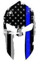 """Molon Labe Spartan Helmet Subdued Blue Tattered Flag Decal Sticker 5.5"""" Inches"""