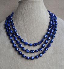 8-9 mm blau Baroque Süßwasser Perle lange Halskette ,56inch