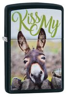 Zippo Kiss My Donkey Design Black Matte Windproof Pocket Lighter, 29868