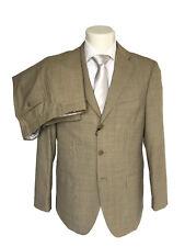 Abito sartoriale uomo Confitalia, in pura lana, beige tessuto grisaglia, DROP 6.