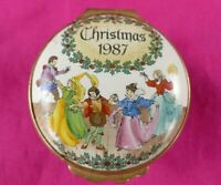 Christmas 1987 HALCYON DAYS Enamels England Trinket Box Treasure Holder