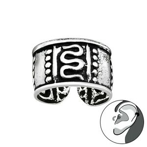 925 Sterling Silver Swirl Bead Dots Ear Cuff Non Piercing 10mm Unisex Earring