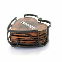 Handmade Wood and Iron Drink Coasters Sets with Holder Set of 6 in a Heart Shape
