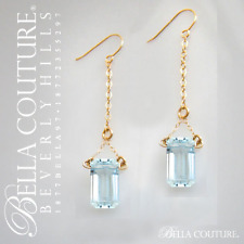 $799 RARE AQUAMARINE BAGUETTE 14K GOLD ART DECO DIAMOND DANGLE VTG DROP EARRINGS