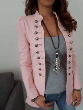 ★Jersey Blazer Sweat Jacke Langjacket gefüttert Zierknöpfe Blogger rosa ★ S 36