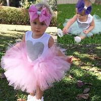 3PCS Newborn Baby Girl Outfit Romper Jumpsuit+Tutu Skirt+Headband Clothes Set UK