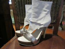 BRONX White Silver Soft Leather Peeptoe Sandal Booties Space Boots Heels 38
