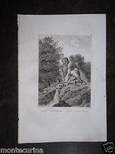 1850ca PROTOLINO COLOSSO DELL'APPENNINO VILLA DEMIDOFF INCISIONE ORIGINALE D31