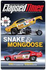 Hot Rod Elapsed Times Retro Drag Racing Snake & Mongoose Metal Sign Decor HRM101