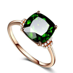 Luxury Women Green Crystal Cubic Zirconia Rings Gold Plated Wedding Jewelry Gift