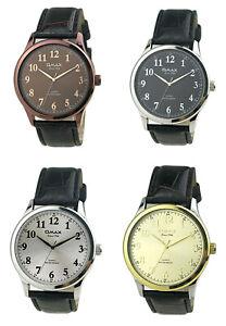 Omax Men's Numeric Dial Leather Strap Watch, Analog Display, Japanese Quartz