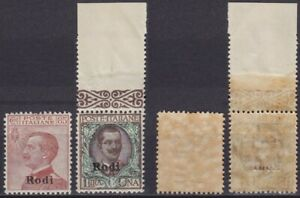 """Colonie """"Rodi"""" 1922-23 Michetti e Floreale n.13-14 nuova MNH** gomma integra"""