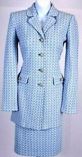 NWT ST.JOHN Collection Womens Suit Knit Tweed Blue White Jacket & Skirt Sz 6