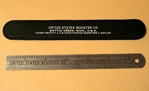 "Vintage 1938 United States Register Co 6"" Ruler W/ Case, Battle Creek Michigan"