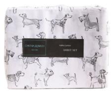 NEW FULL DOUBLE SIZE SHEET SET DOG PRINT WHITE /GRAY 100% COTTON
