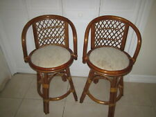 Vintage  Bamboo And Fabric  Bar  stool Set of Two Shipping not Included