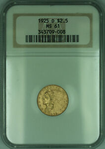 1925-D Indian Quarter Eagle $2.50 Gold Coin NGC MS-61 (KD)