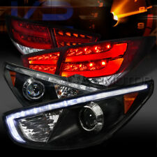 Fit 10-12 Tucson Black R8 LED Projector Headlights+Red Clear LED Tail Lamps