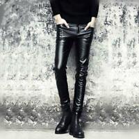 Herrenmode schwarze feste dünne Kunstlederhose beiläufige schlank bequem Hosen