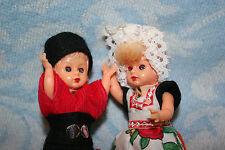 2 Small Hard Plastic Vintage Antique Dutch Dolls With Sleep Eyes & Original Box