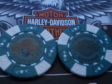 Harley Davidson Green & White Poker Chip from Freeport, Bahamas