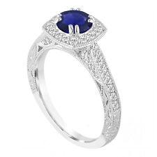 1.50 Carat Platinum Sapphire And Diamonds Engagement Ring Vintage Style Handmade